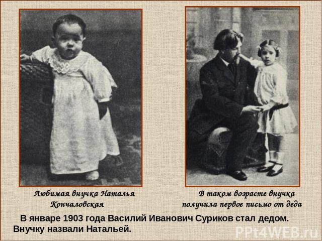 В январе 1903 года Василий Иванович Суриков стал дедом. Внучку назвали Натальей. Любимая внучка Наталья Кончаловская В таком возрасте внучка получила первое письмо от деда