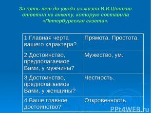 За пять лет до ухода из жизни И.И.Шишкин ответил на анкету, которую составила «П