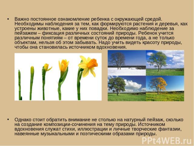 Важно постоянное ознакомление ребенка с окружающей средой. Необходимы наблюдения за тем, как формируются растения и деревья, как устроены животные, какие у них повадки. Необходимо наблюдение за пейзажем – фиксация различных состояний природы. Ребено…