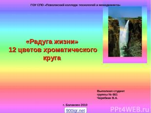 Julia Tishinskaja «Радуга жизни» 12 цветов хроматического круга Выполнил студент