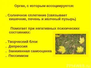 Орган, с которым ассоциируется: . Солнечное сплетение (связывает кишечник, печен