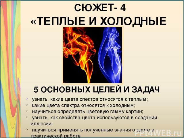 «ТЕПЛЫЕ И ХОЛОДНЫЕ ЦВЕТА» СЮЖЕТ- 4 5 ОСНОВНЫХ ЦЕЛЕЙ И ЗАДАЧ узнать, какие цвета спектра относятся к теплым; какие цвета спектра относятся к холодным; научиться определять цветовую гамму картин; узнать, как свойства цвета используются в создании иллю…