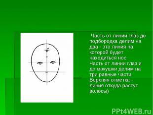 Часть от линии глаз до подбородка делим на два - это линия на которой будет нахо