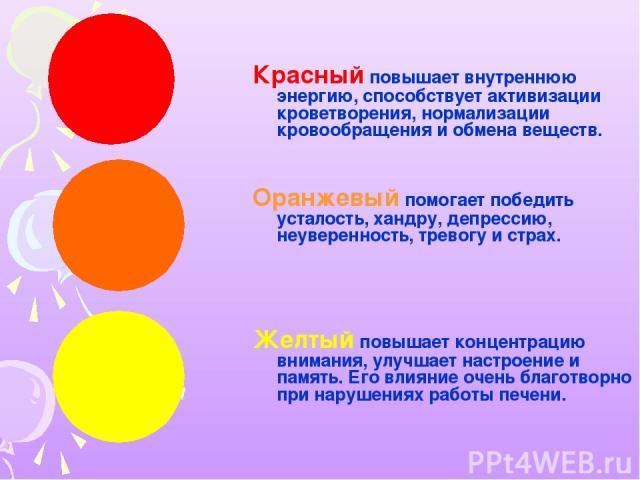 Красный повышает внутреннюю энергию, способствует активизации кроветворения, нормализации кровообращения и обмена веществ. Оранжевый помогает победить усталость, хандру, депрессию, неуверенность, тревогу и страх. Желтый повышает концентрацию внимани…