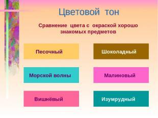Сравнение цвета с окраской хорошо знакомых предметов