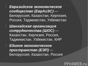 Евразийское экономическое сообщество (ЕврАзЭС) — Белоруссия, Казахстан, Киргизия