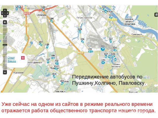Уже сейчас на одном из сайтов в режиме реального времени отражается работа общественного транспорта нашего города. Передвижение автобусов по Пушкину,Колпино, Павловску.