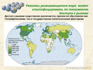 Регионы развивающегося мира можно классифицировать по показателю доступа к рынка