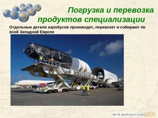 Погрузка и перевозка продуктов специализации Отдельные детали аэробусов производ