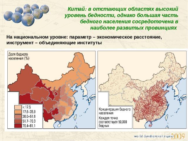 Китай: в отстающих областях высокий уровень бедности, однако большая часть бедного населения сосредоточена в наиболее развитых провинциях На национальном уровне: параметр – экономическое расстояние, инструмент – объединяющие институты