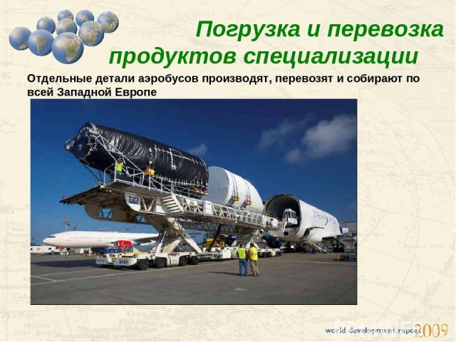 Погрузка и перевозка продуктов специализации Отдельные детали аэробусов производят, перевозят и собирают по всей Западной Европе