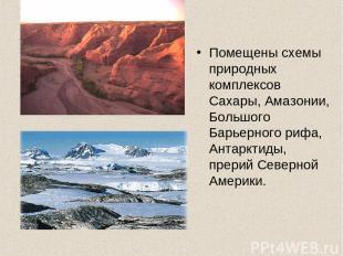 Помещены схемы природных комплексов Сахары, Амазонии, Большого Барьерного рифа,