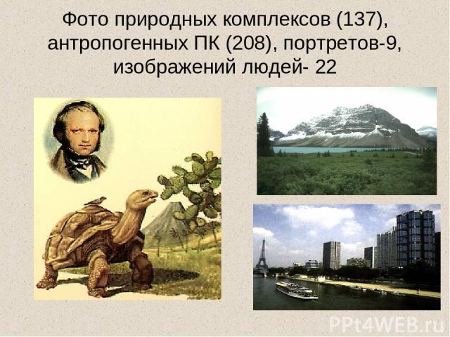 Фото природных комплексов (137), антропогенных ПК (208), портретов-9, изображений людей- 22