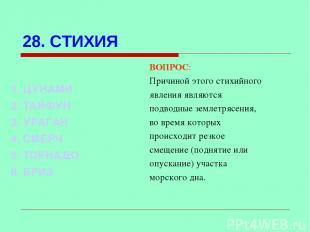 28. СТИХИЯ ВОПРОС: Причиной этого стихийного явления являются подводные землетря