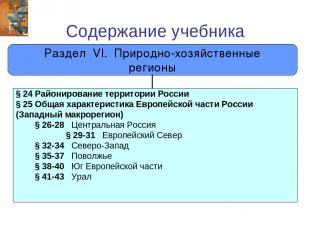 Содержание учебника Раздел VI. Природно-хозяйственные регионы § 24 Районирование