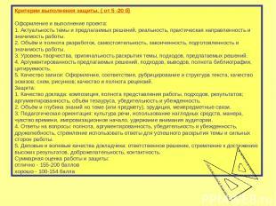 Критерии выполнения защиты. ( от 5 -20 б) Оформление и выполнение проекта: 1. Ак