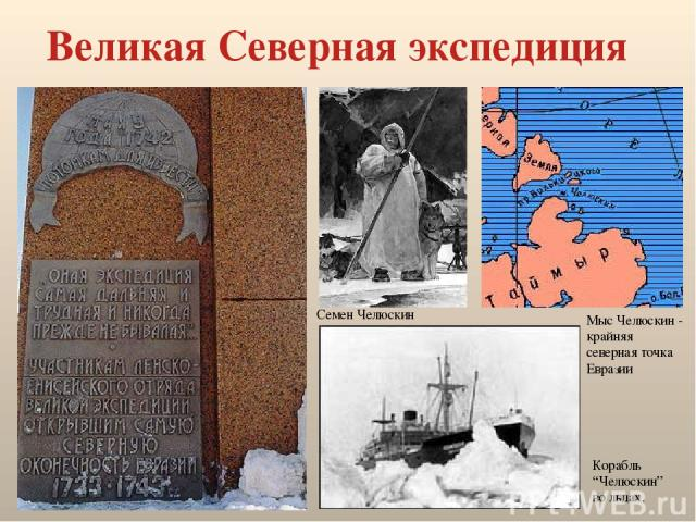 """Великая Северная экспедиция Семен Челюскин Мыс Челюскин - крайняя северная точка Евразии Корабль """"Челюскин"""" во льдах."""