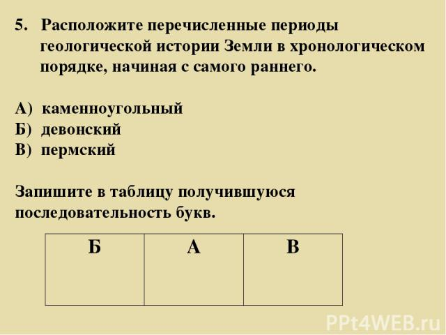 5. Расположите перечисленные периоды геологической истории Земли в хронологическом порядке, начиная с самого раннего. А) каменноугольный Б) девонский В) пермский Запишите в таблицу получившуюся последовательность букв. Б А В