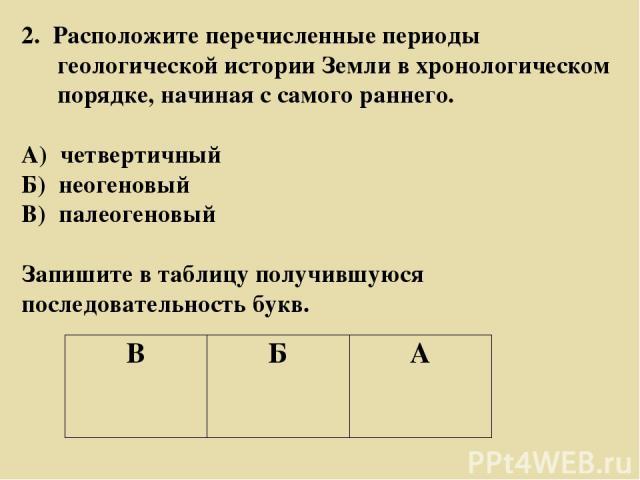 2. Расположите перечисленные периоды геологической истории Земли в хронологическом порядке, начиная с самого раннего. А) четвертичный Б) неогеновый В) палеогеновый Запишите в таблицу получившуюся последовательность букв. В Б А