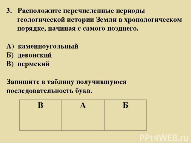 3. Расположите перечисленные периоды геологической истории Земли в хронологическом порядке, начиная с самого позднего. А) каменноугольный Б) девонский В) пермский Запишите в таблицу получившуюся последовательность букв. В А Б