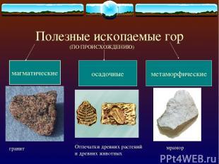 Полезные ископаемые гор осадочные метаморфические магматические Отпечатки древни