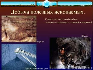 Добыча полезных ископаемых. Карьер Добыча каменного угля Шахта Существуют два сп