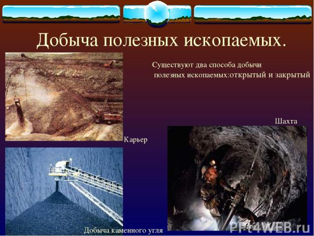Добыча полезных ископаемых. Карьер Добыча каменного угля Шахта Существуют два способа добычи полезных ископаемых:открытый и закрытый