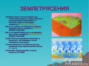 ЗЕМЛЕТРЯСЕНИЯ Смещение одних участков земной коры относительно других в горизонт