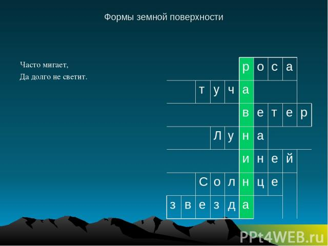 Формы земной поверхности Часто мигает, Да долго не светит. р о с а т у ч а в е т е р Л у н а и н е й С о л н ц е з в е з д а