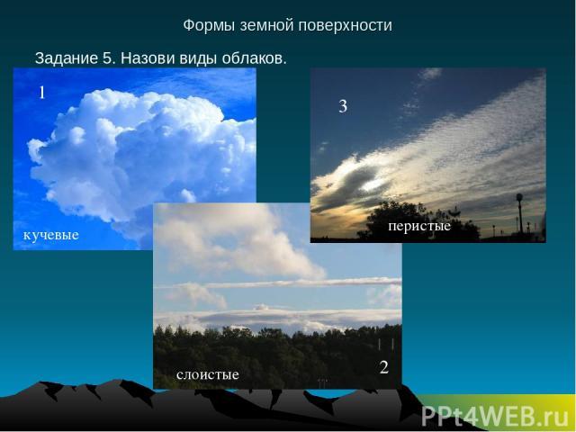 Формы земной поверхности Задание 5. Назови виды облаков. 1 2 3 кучевые слоистые перистые