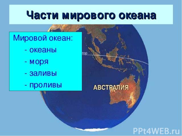 Части мирового океана Мировой океан: - океаны - моря - заливы - проливы