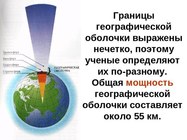 Границы географической оболочки выражены нечетко, поэтому ученые определяют их по-разному. Общая мощность географической оболочки составляет около 55 км.