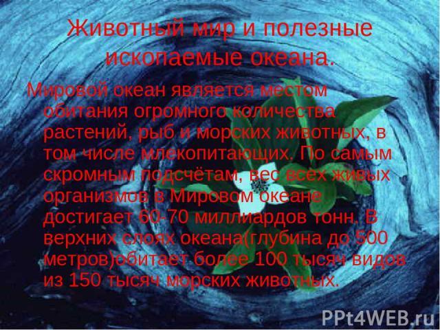 Животный мир и полезные ископаемые океана. Мировой океан является местом обитания огромного количества растений, рыб и морских животных, в том числе млекопитающих. По самым скромным подсчётам, вес всех живых организмов в Мировом океане достигает 60-…