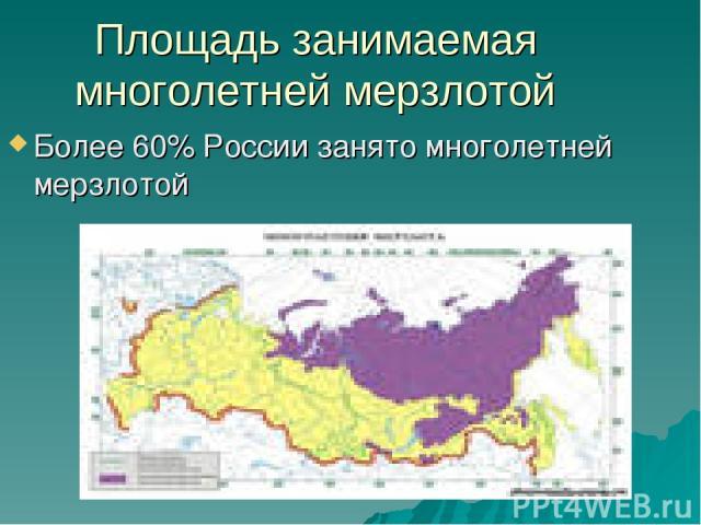 Площадь занимаемая многолетней мерзлотой Более 60% России занято многолетней мерзлотой