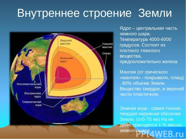 Внутреннее строение Земли Ядро – центральная часть земного шара. Температура 4000-6000 градусов. Состоит из плотного тяжелого вещества, предположительно железа Мантия (от греческого «мантия» - покрывало, плащ) . 80% объема Земли. Вещество твердое, в…