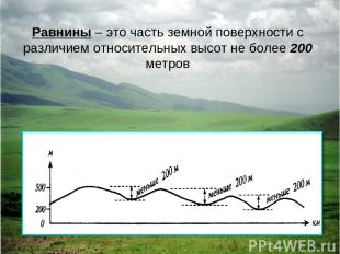 Равнины – это часть земной поверхности с различием относительных высот не более