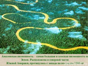 Амазонская низменность – самая большая и плоская низменность на Земле. Расположе