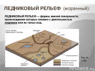 ЛЕДНИКОВЫЙ РЕЛЬЕФ (моренный): ЛЕДНИКОВЫЙ РЕЛЬЕФ — формы земной поверхности, прои