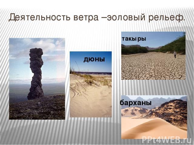 Деятельность ветра –эоловый рельеф. такыры дюны барханы