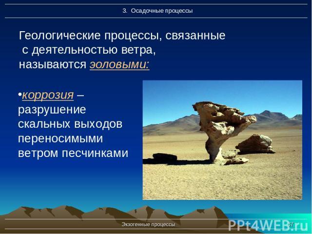 Экзогенные процессы * Геологические процессы, связанные с деятельностью ветра, называются эоловыми: коррозия – разрушение скальных выходов переносимыми ветром песчинками Экзогенные процессы