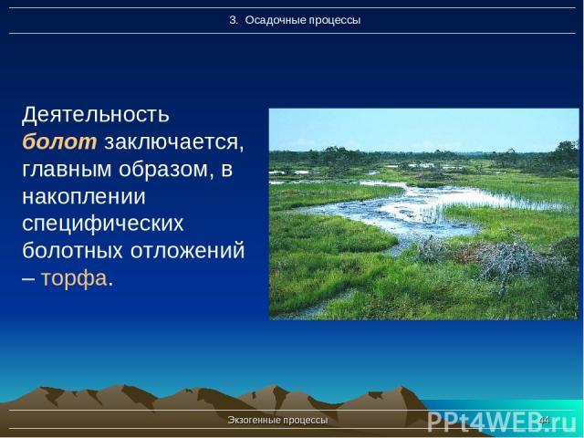 Экзогенные процессы * Деятельность болот заключается, главным образом, в накоплении специфических болотных отложений – торфа. Экзогенные процессы
