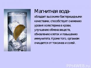 Магнитная вода- обладает высокими бактерицидными качествами, способствует снижен