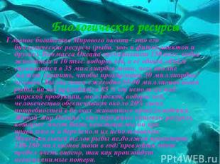 Биологические ресурсы Главное богатство Мирового океана - это его биологические