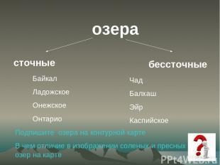 озера сточные бессточные Байкал Ладожское Онежское Онтарио Чад Балхаш Эйр Каспий