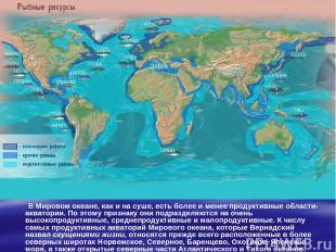 В Мировом океане, как и на суше, есть более и менее продуктивные области-акватор