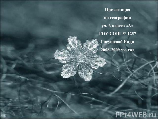 Презентация по географии уч. 6 класса «А» ГОУ СОШ № 1257 Гнеушевой Нади 2008-2009 уч. год