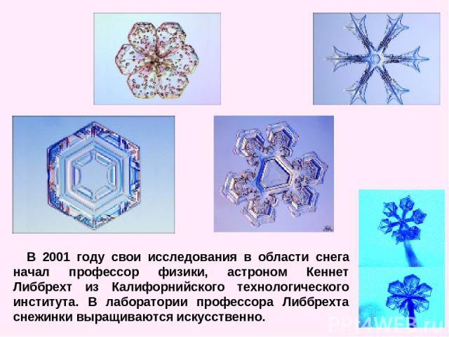 В 2001 году свои исследования в области снега начал профессор физики, астроном Кеннет Либбрехт из Калифорнийского технологического института. В лаборатории профессора Либбрехта снежинки выращиваются искусственно.