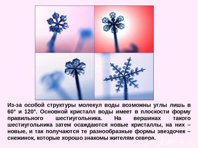 Из-за особой структуры молекул воды возможны углы лишь в 60° и 120°. Основной кристалл воды имеет в плоскости форму правильного шестиугольника. На вершинах такого шестиугольника затем осаждаются новые кристаллы, на них – новые, и так получаются те р…