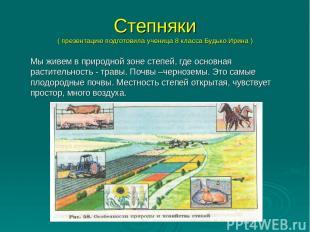 Степняки ( презентацию подготовила ученица 8 класса Будько Ирина ) Мы живем в пр