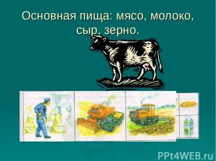 Основная пища: мясо, молоко, сыр, зерно.